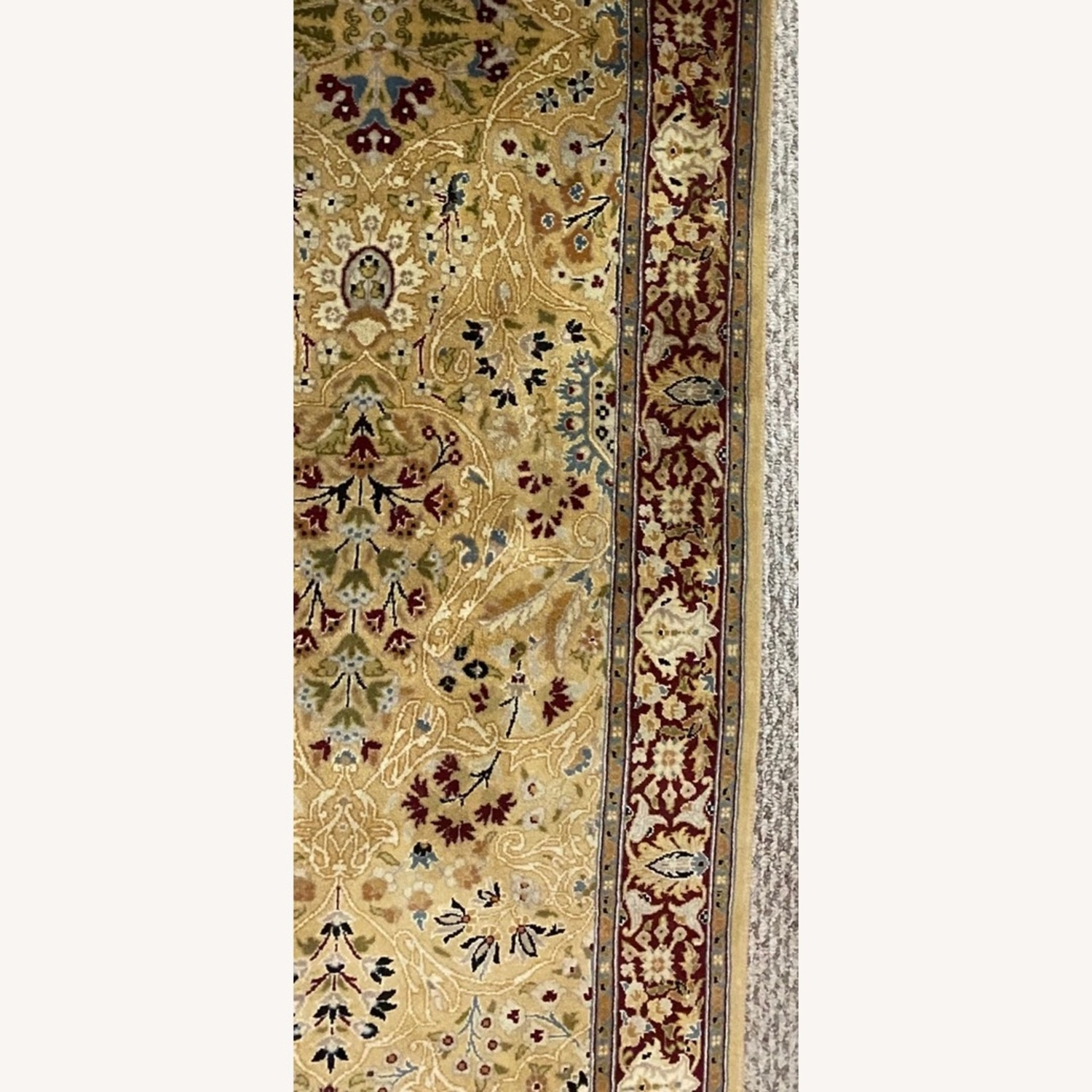 Bloomingdale's Gold & Red Hand Knotted Runner - image-0
