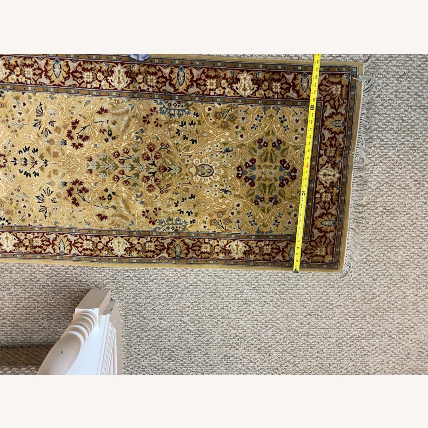 Bloomingdale's Gold & Red Hand Knotted Runner - image-1
