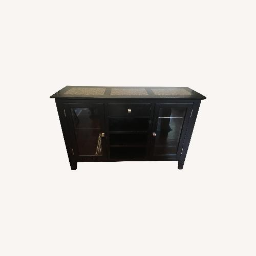 Used Credenza Cabinet - Wood, Marble + Glass Sideboard for sale on AptDeco