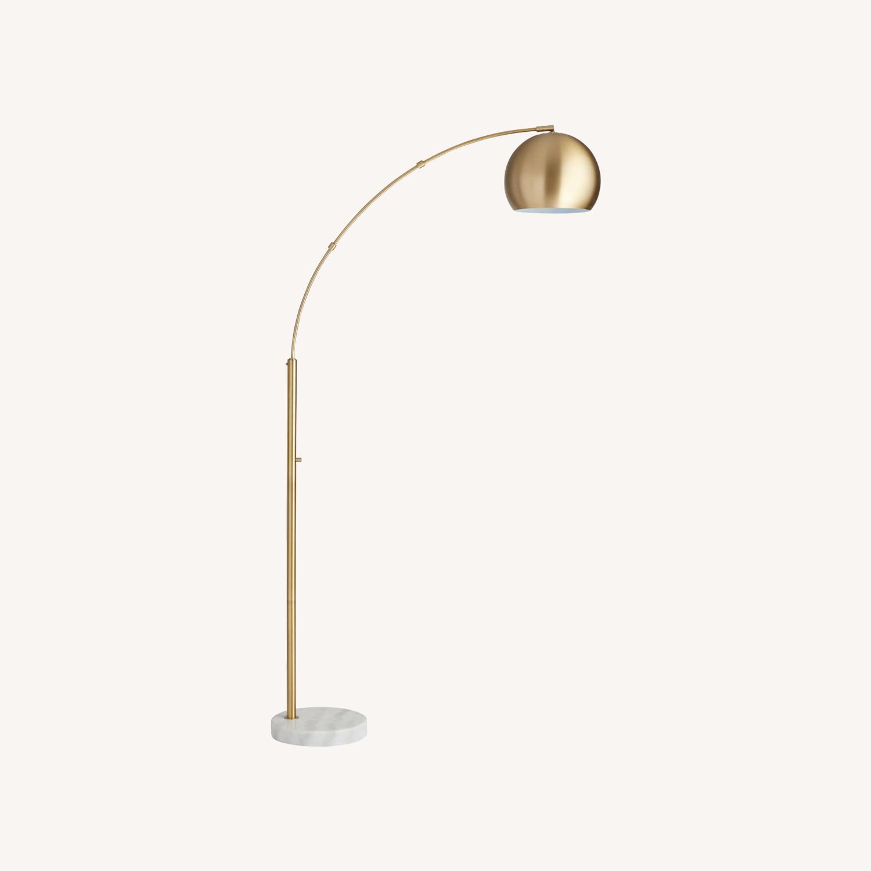 World Market Brass Arc And White Marble Hayden Floor Lamp - image-0