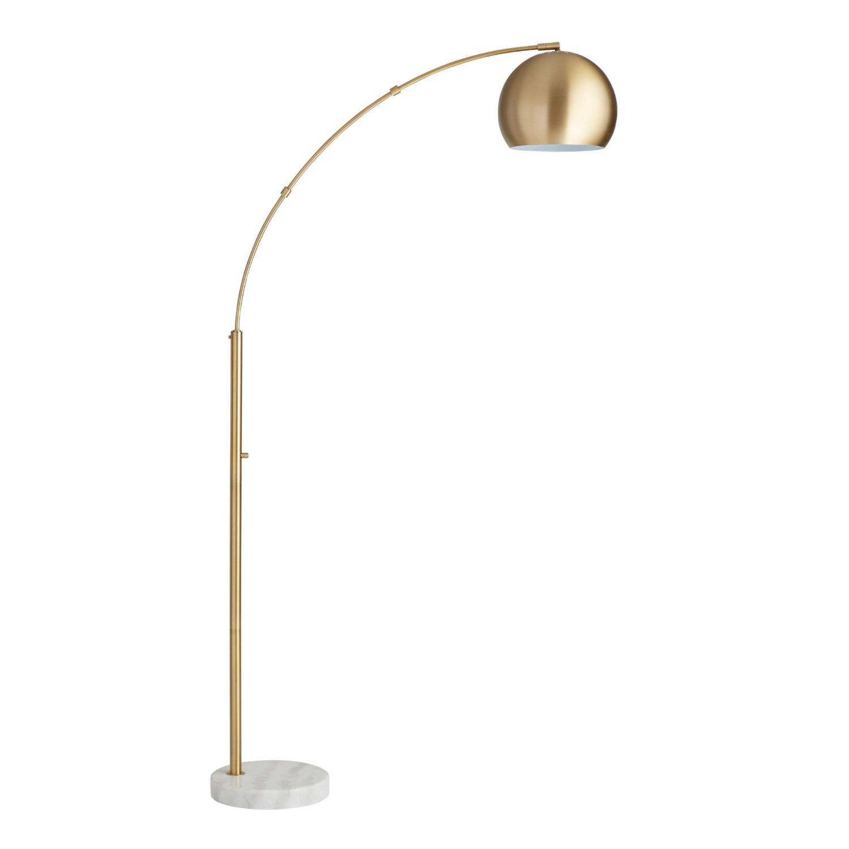World Market Brass Arc And White Marble Hayden Floor Lamp - image-1