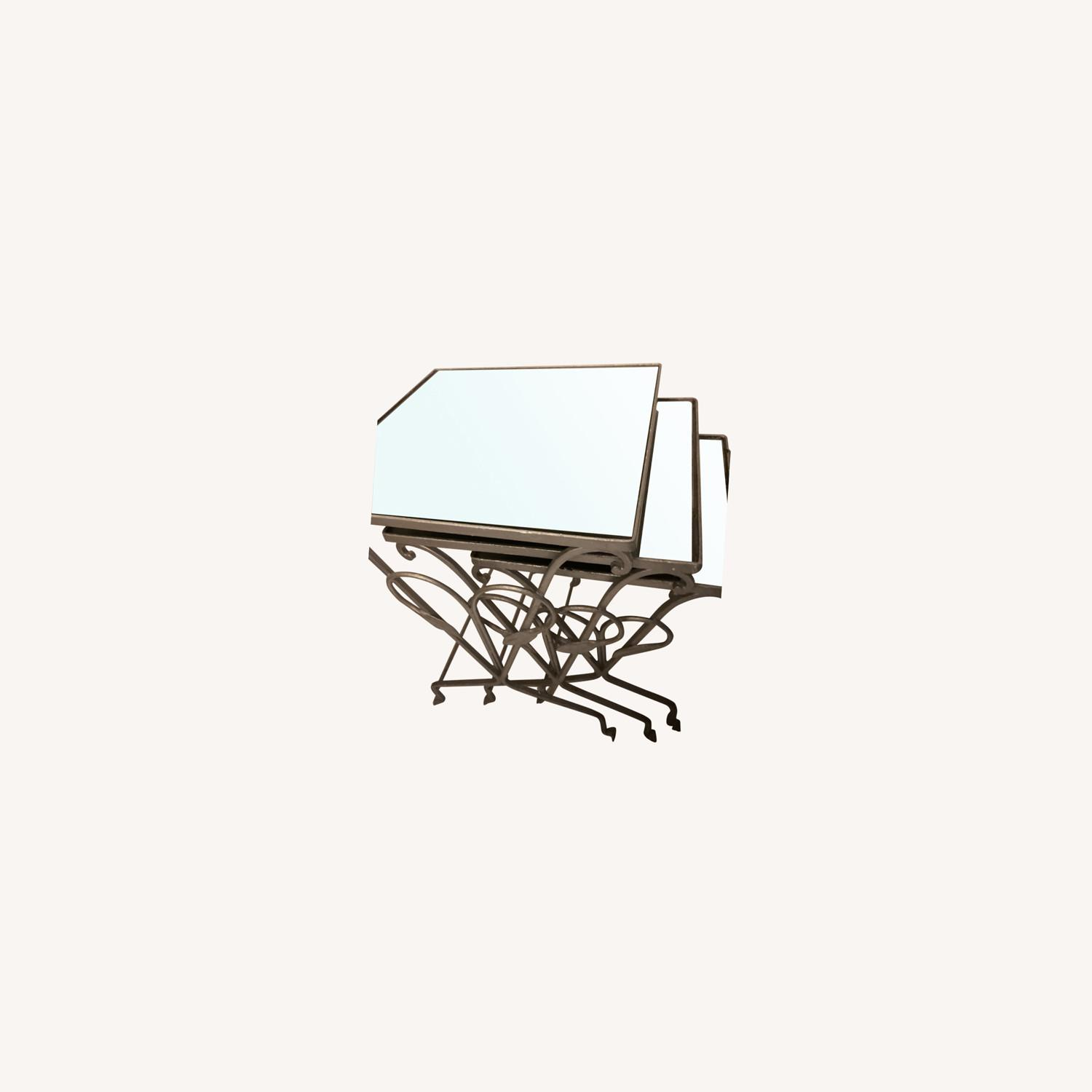 Antique Garden Tables with Mirrored Glass - image-0