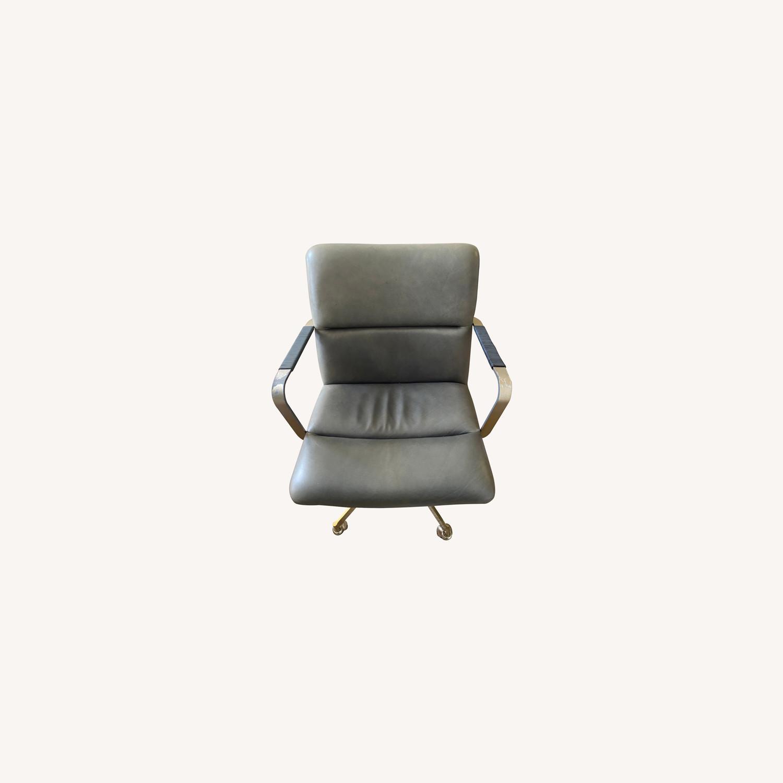 West Elm Cooper Mid Century Leather Swivel Office Chair Aptdeco