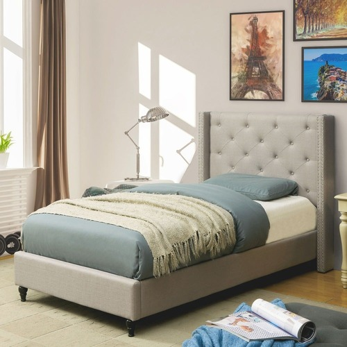 Used Furniture of America Grey Wingback Platform Bed for sale on AptDeco