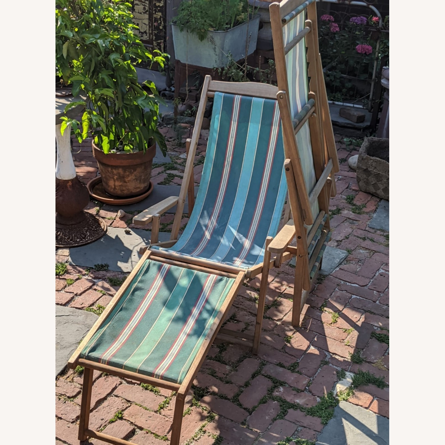 Reatoration Hardware 2 outdoor Sling Chairs with foot rests - image-1