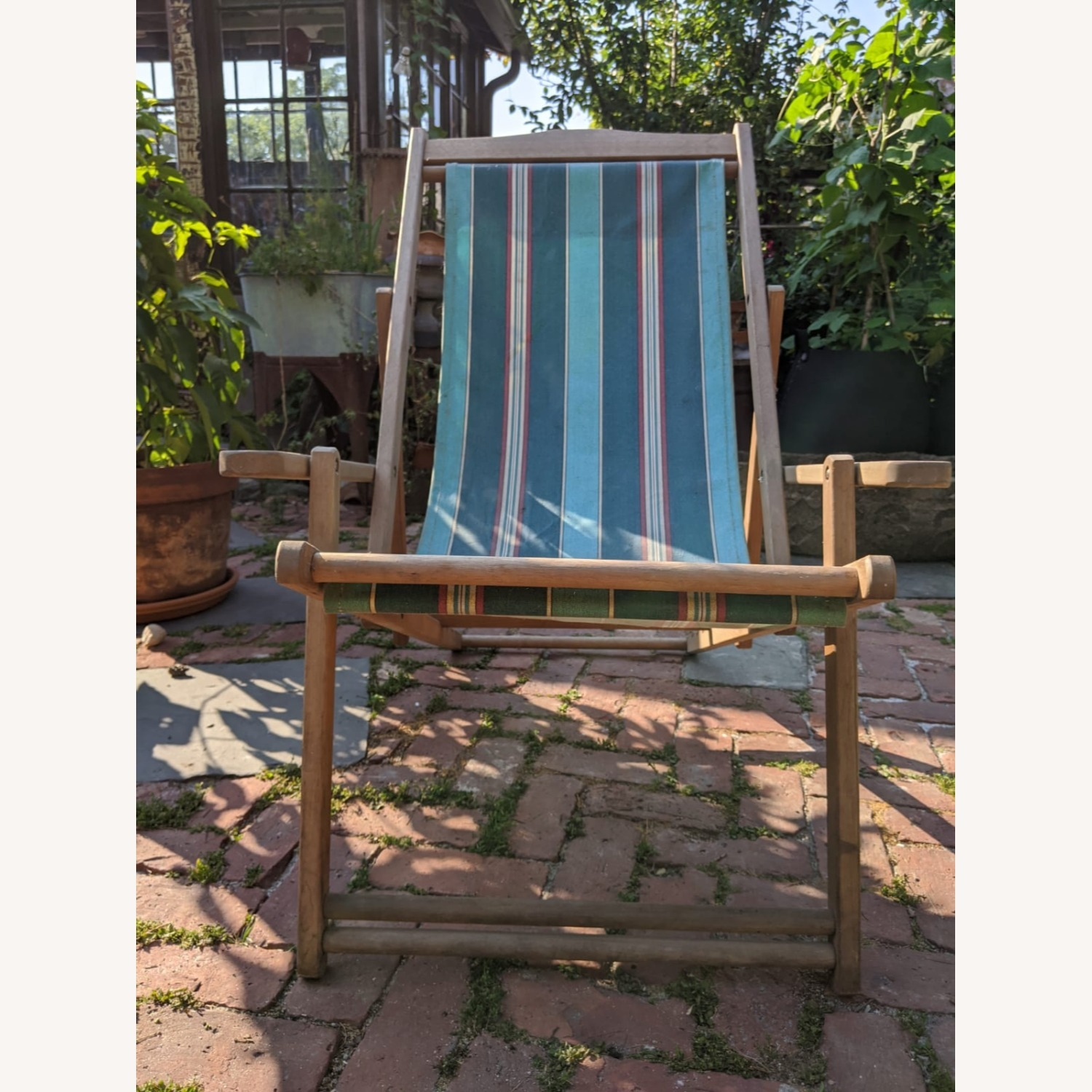 Reatoration Hardware 2 outdoor Sling Chairs with foot rests - image-2