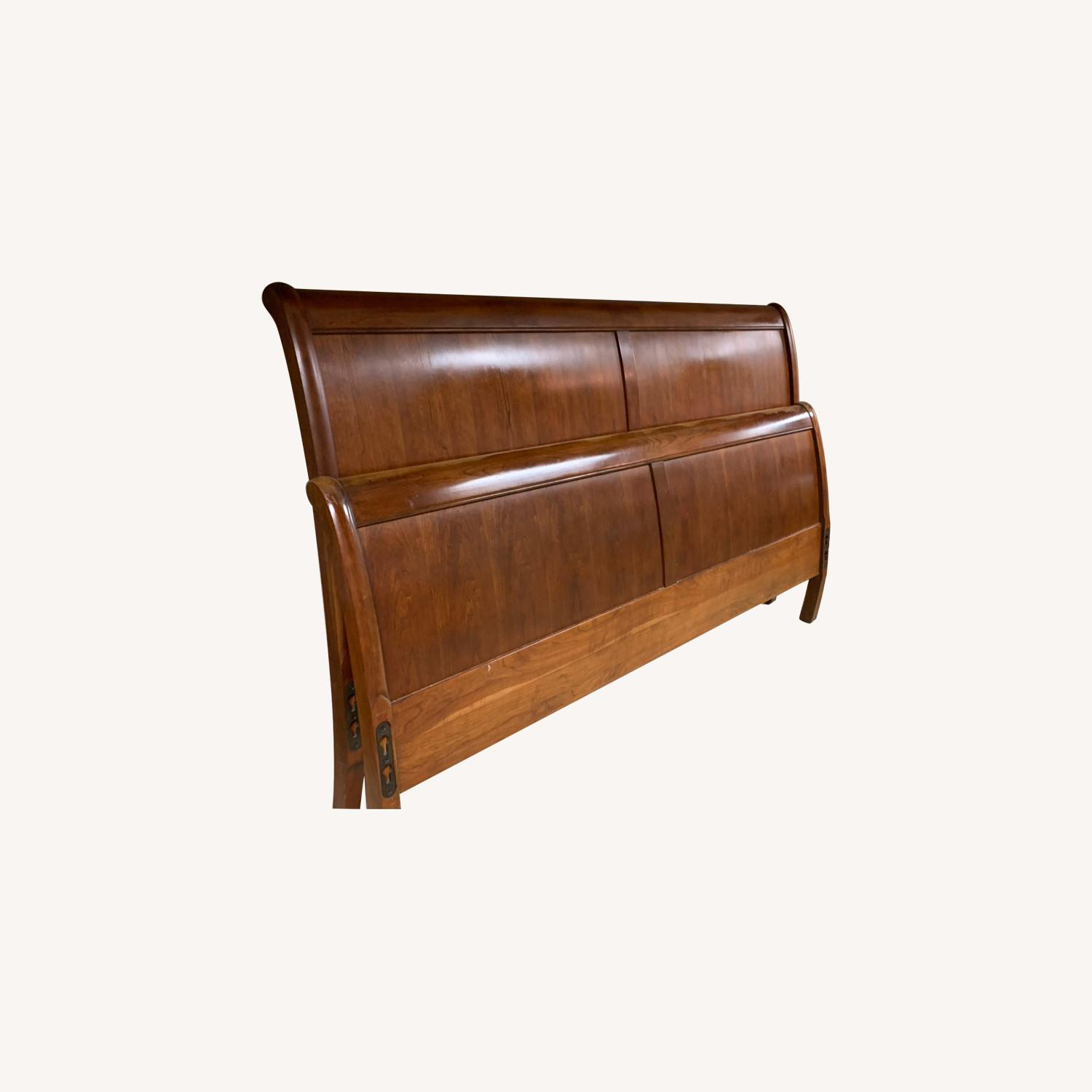 Stickley King Mission Cherry Panel Sleigh Headboard & Foot - image-0