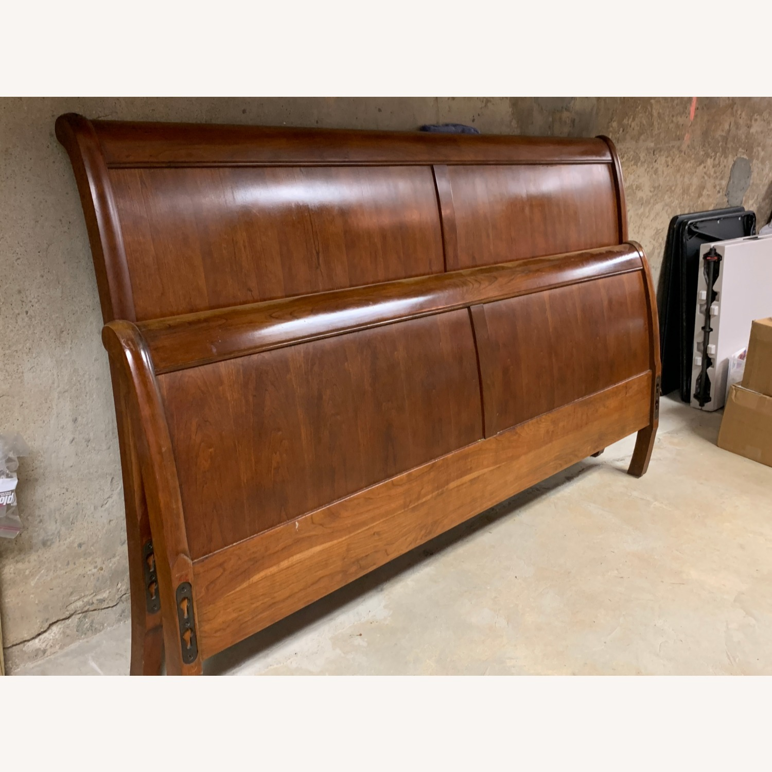 Stickley King Mission Cherry Panel Sleigh Headboard & Foot - image-1