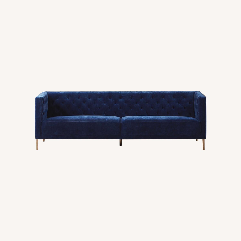 CB2 Tufted Blue Velvet Sofa - image-0