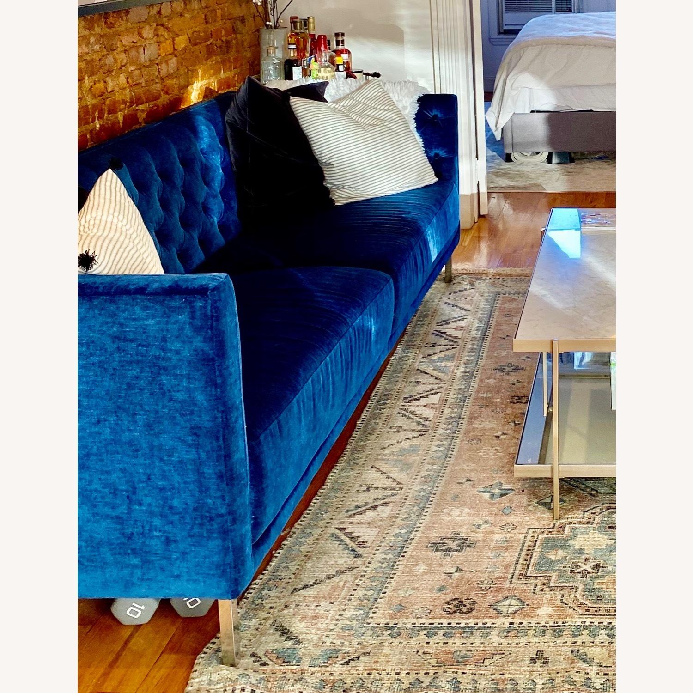 CB2 Tufted Blue Velvet Sofa - image-3