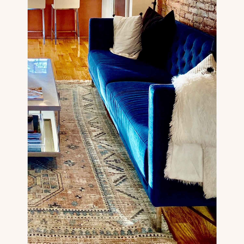 CB2 Tufted Blue Velvet Sofa - image-2