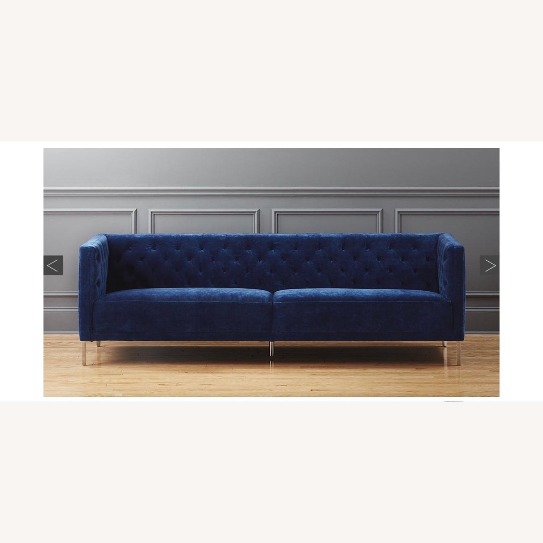 CB2 Tufted Blue Velvet Sofa - image-1