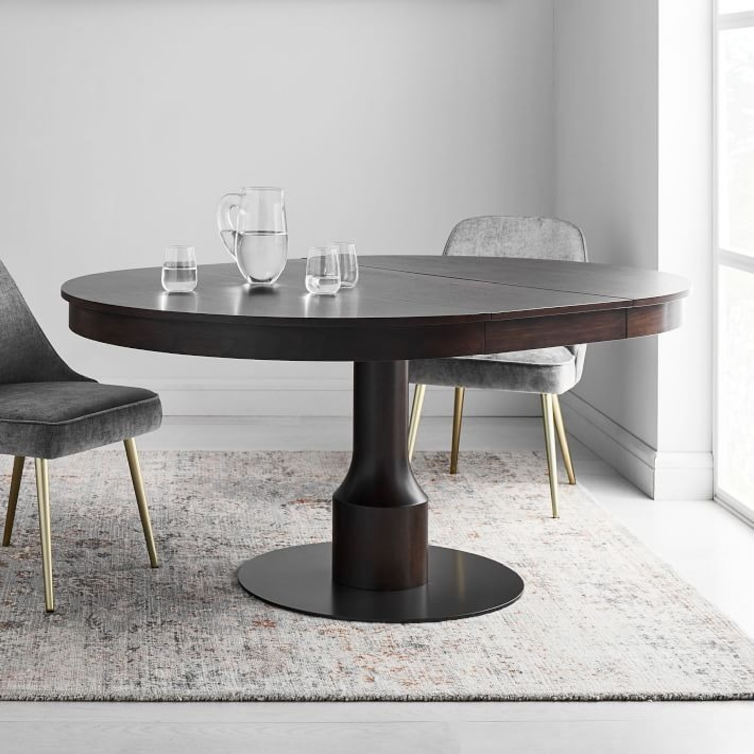 West Elm Turned Pedestal Expandable Dining Table - image-3
