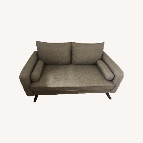 Used AllModern Dark Gray Loveseat with Round Pillows for sale on AptDeco
