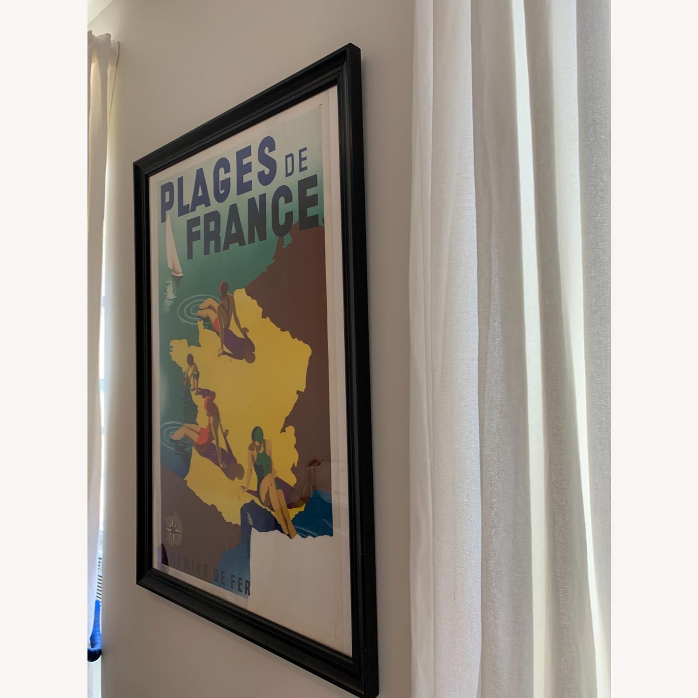 Vintage Plages de France Poster in Black Frame - image-3