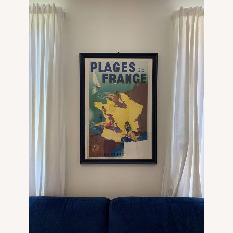 Vintage Plages de France Poster in Black Frame - image-2