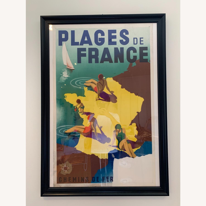 Vintage Plages de France Poster in Black Frame - image-1