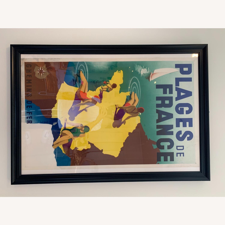 Vintage Plages de France Poster in Black Frame - image-4