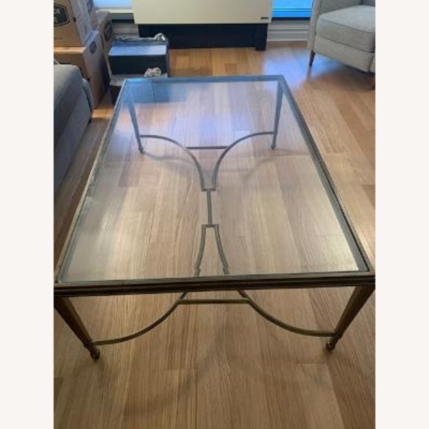 Bloomingdales Bronze and Glass Cocktail Table - image-1