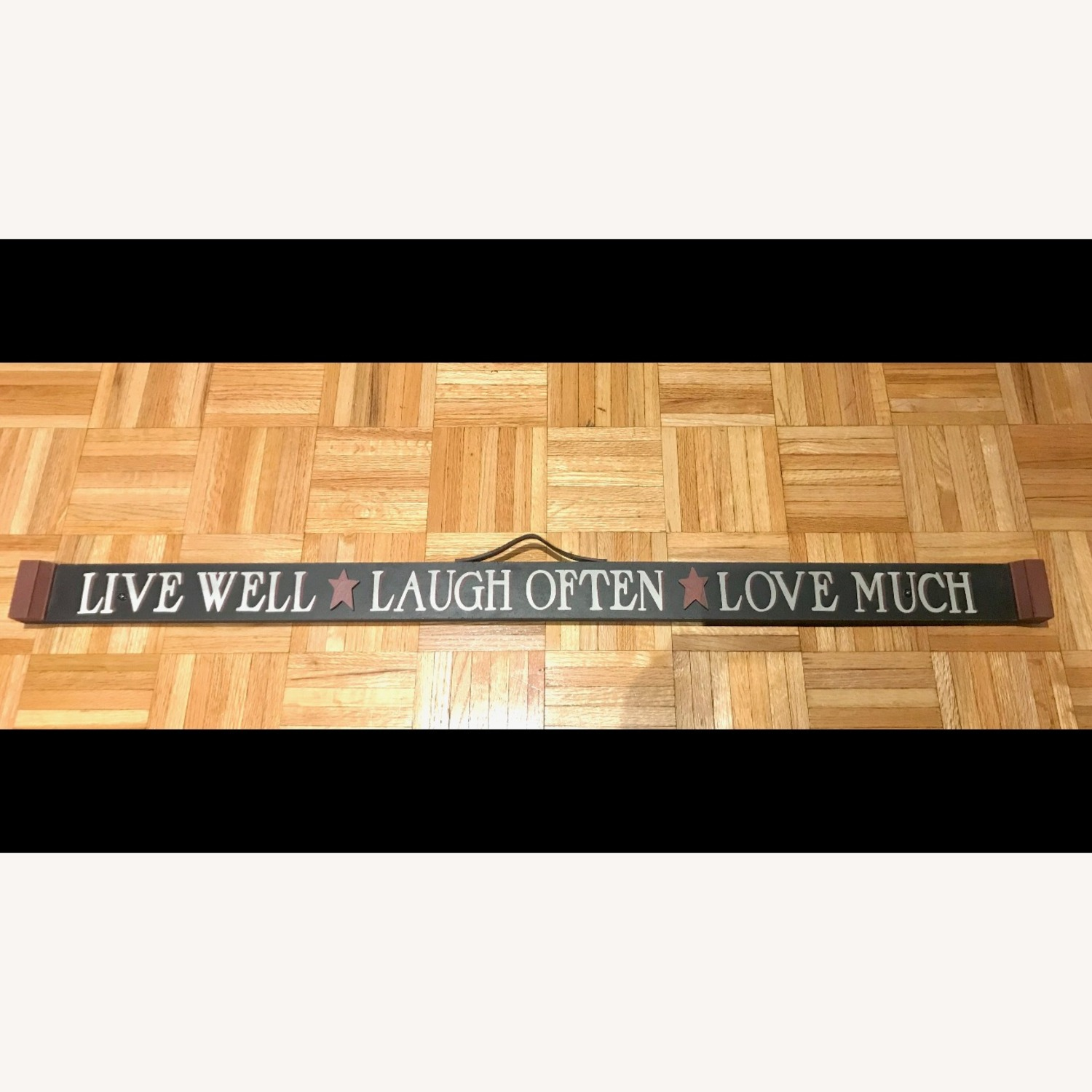 """""""LIVE, LAUGH, LOVE"""" Black Hand Painted Wood Sign - image-0"""