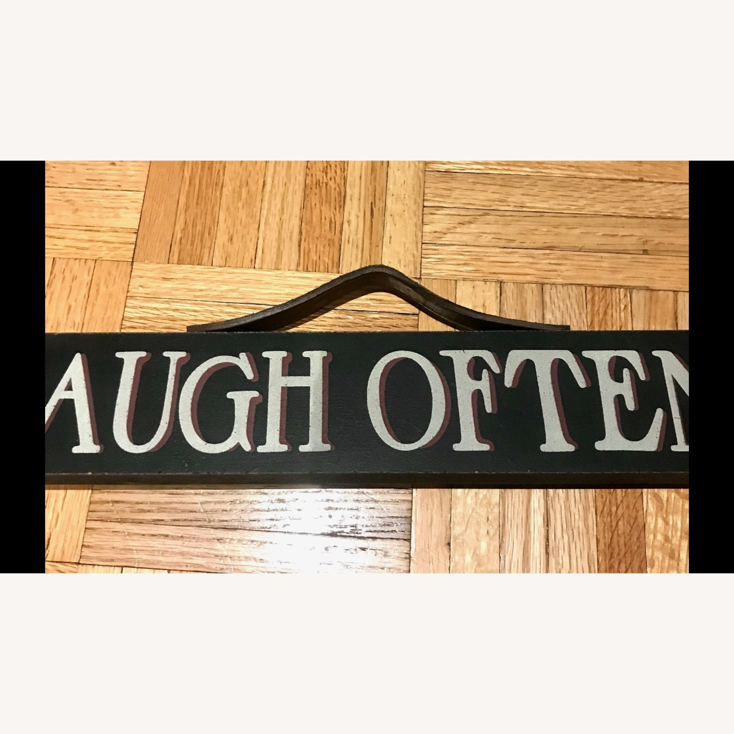 """""""LIVE, LAUGH, LOVE"""" Black Hand Painted Wood Sign - image-1"""