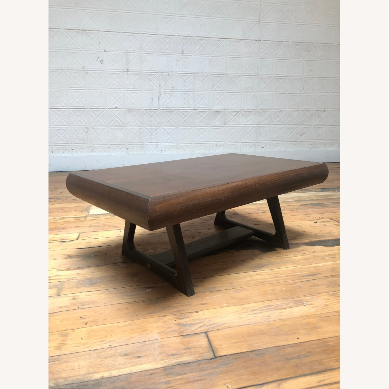 Mid Century Modern Low Walnut End Table - image-1