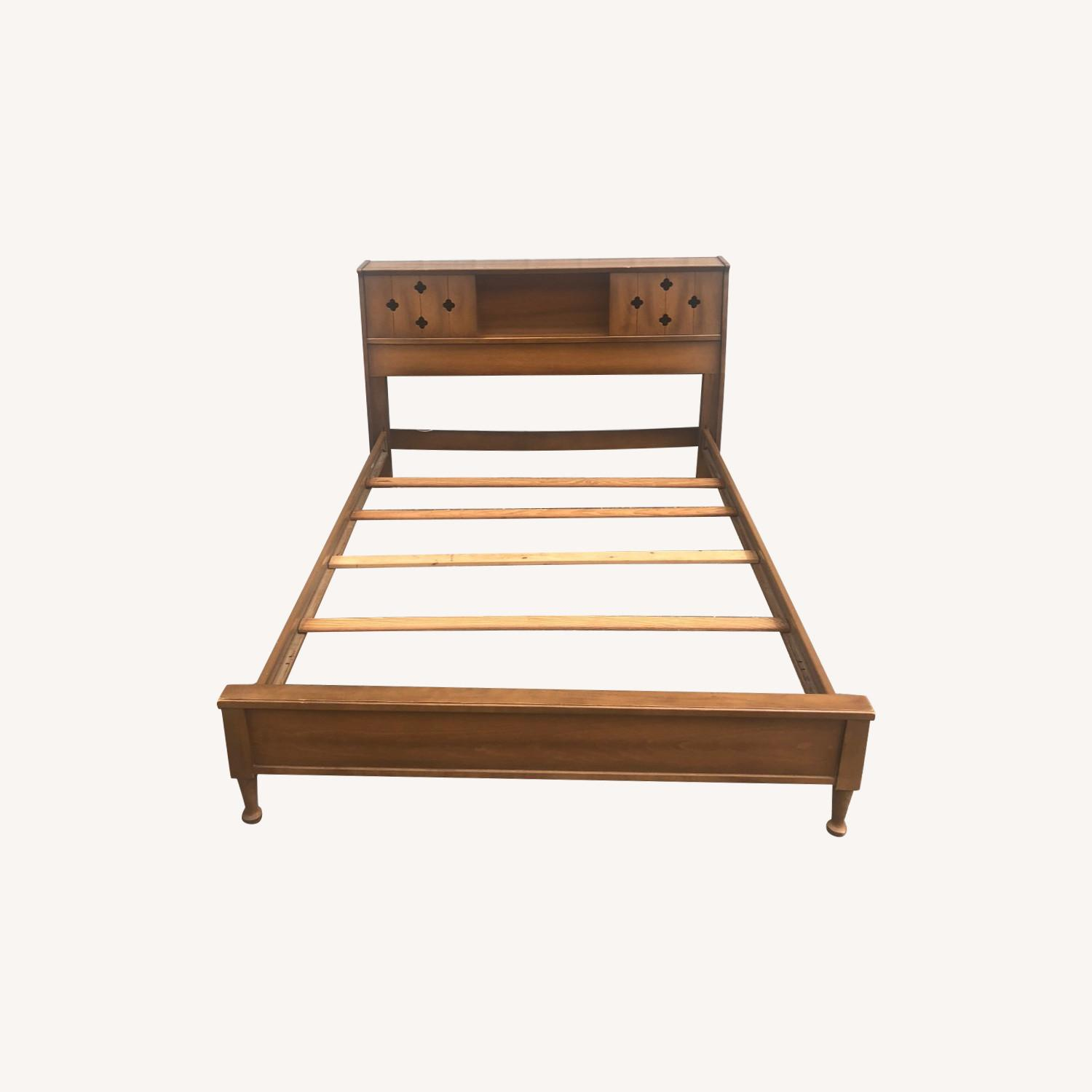 Mid Century Full Bed Frame Storage Headboard Aptdeco