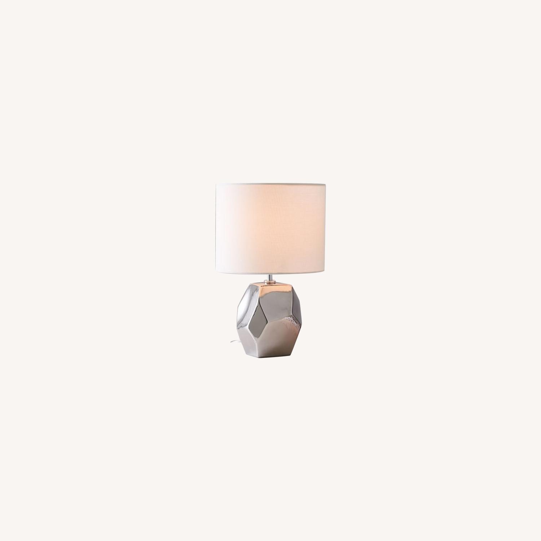 West Elm Ceramic Nature Geo Table Lamp - Silver - image-0