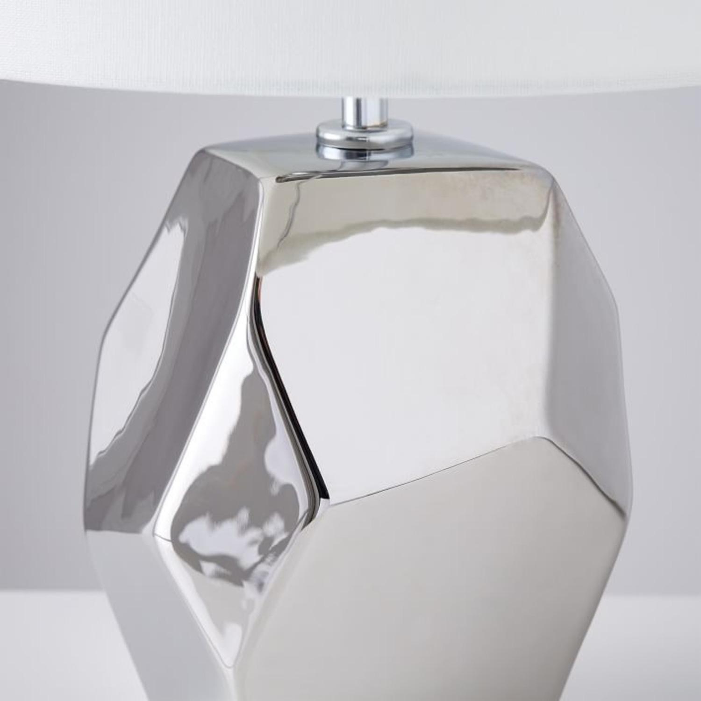 West Elm Ceramic Nature Geo Table Lamp - Silver - image-2