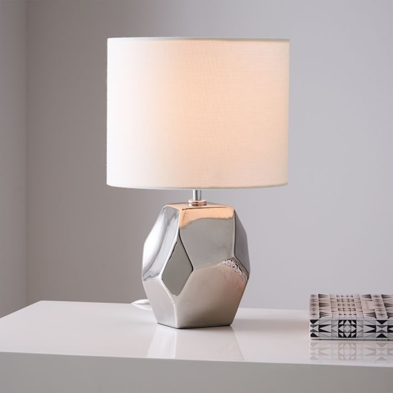 West Elm Ceramic Nature Geo Table Lamp - Silver - image-1