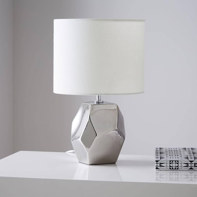 West Elm Ceramic Nature Geo Table Lamp - Silver - image-3