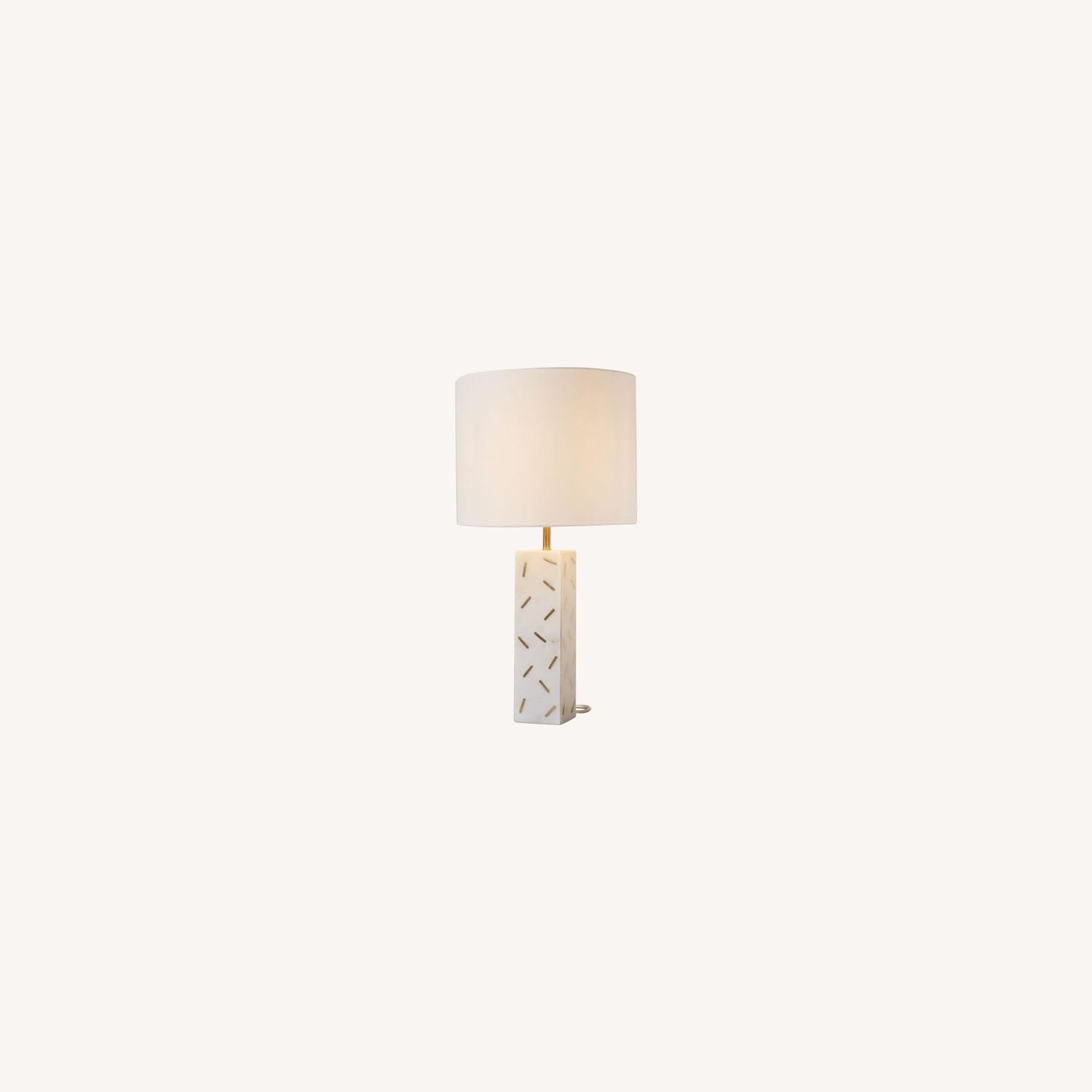West Elm Graphic Brass Inlay Table Lamp  - image-0