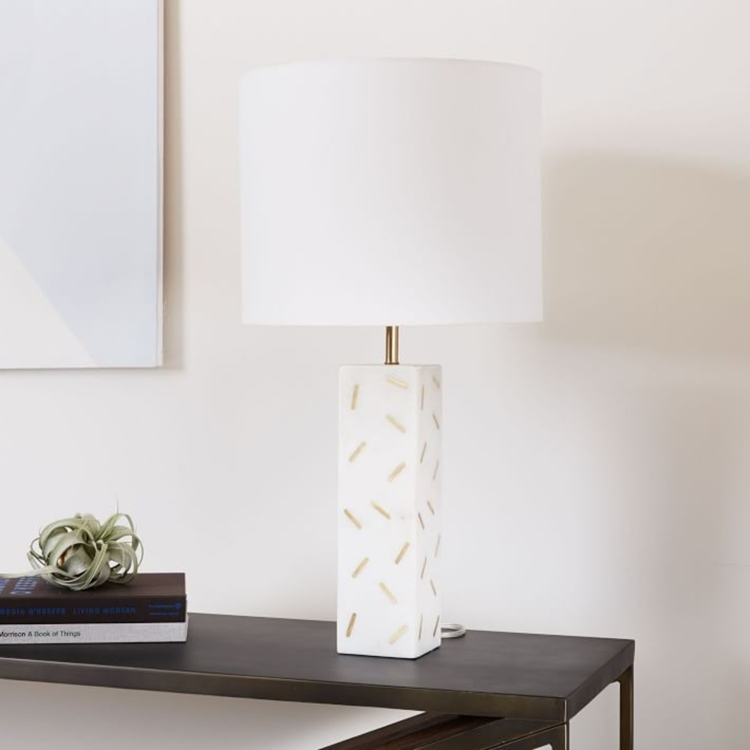West Elm Graphic Brass Inlay Table Lamp  - image-3