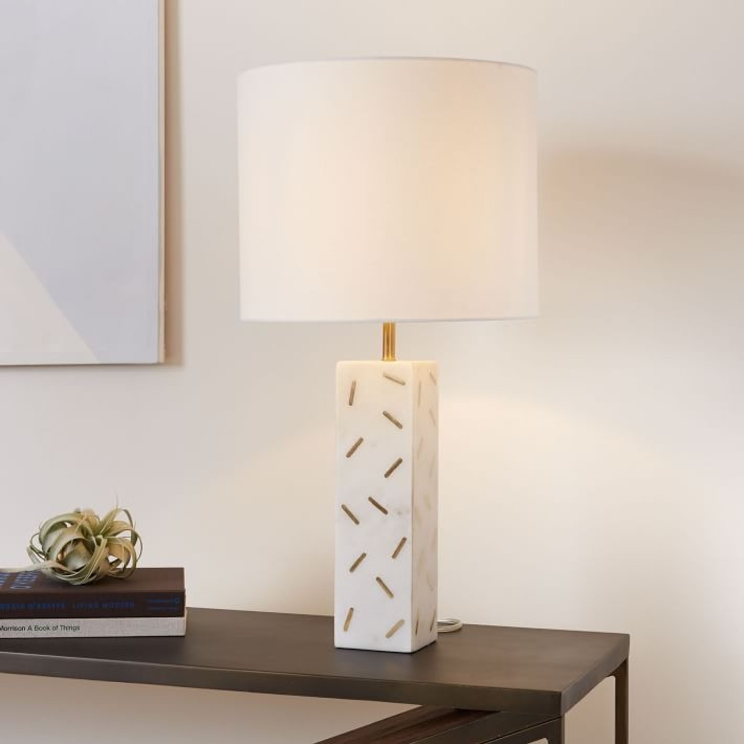 West Elm Graphic Brass Inlay Table Lamp  - image-1