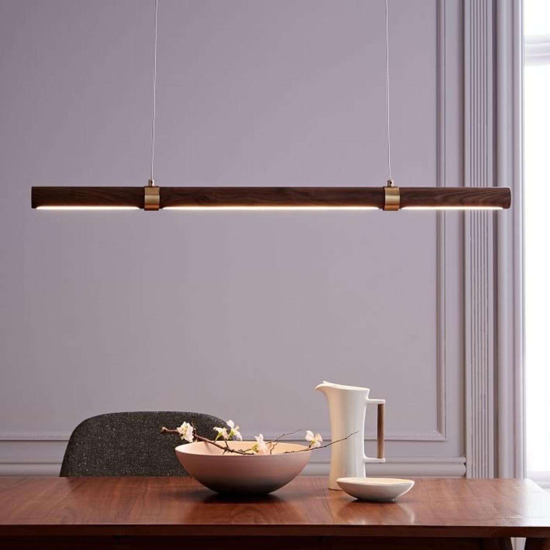 West Elm Linear Wood LED Pendant, Walnut - image-3