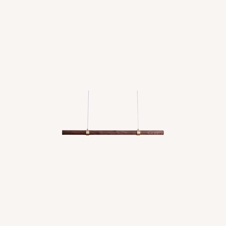 West Elm Linear Wood LED Pendant, Walnut - image-0