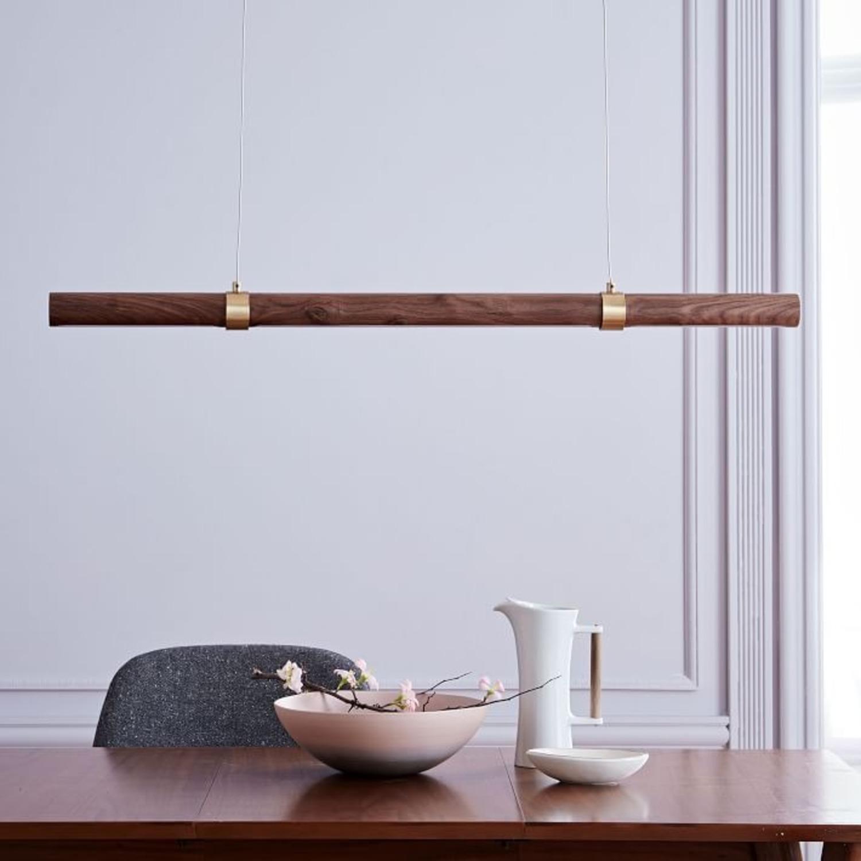West Elm Linear Wood LED Pendant, Walnut - image-1