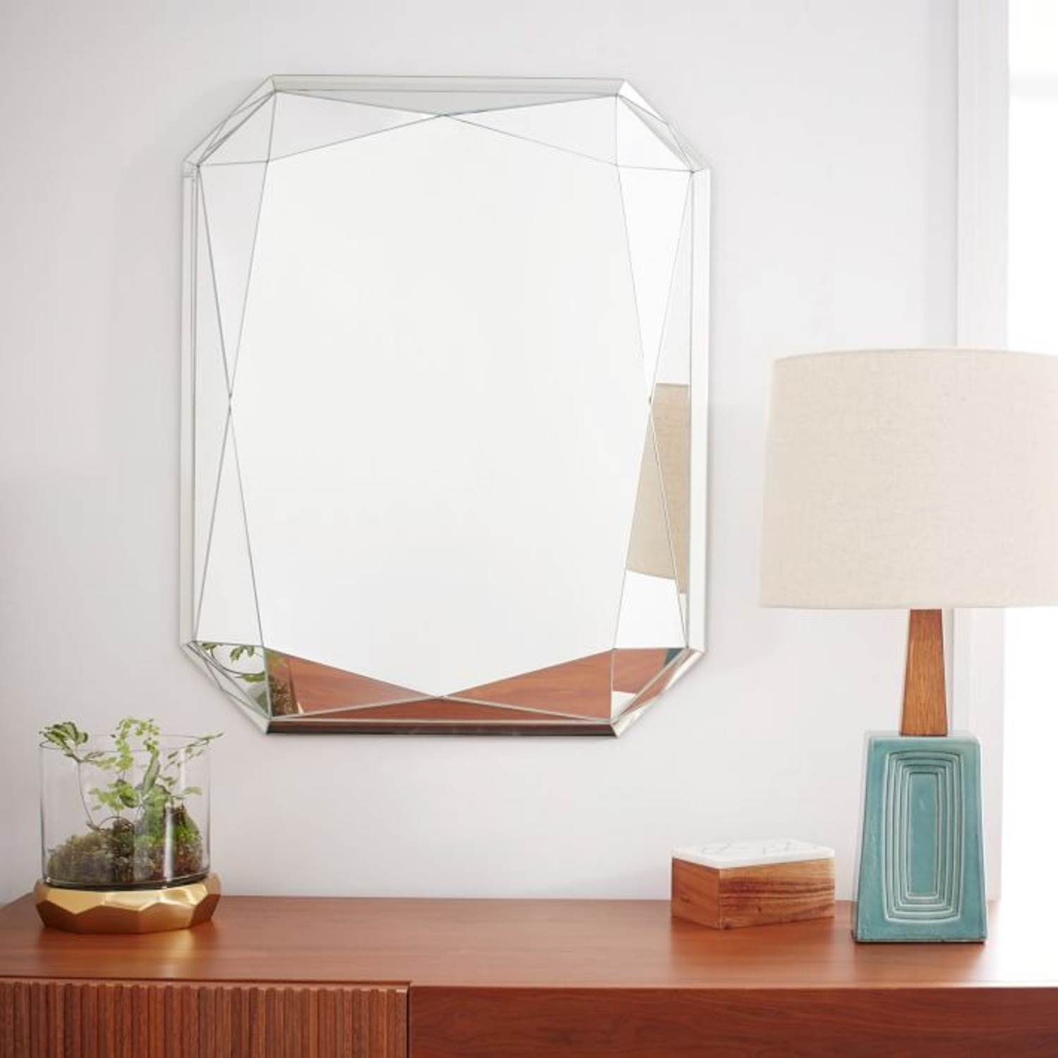 West Elm Faceted Wall Mirror, Emerald Cut - image-1