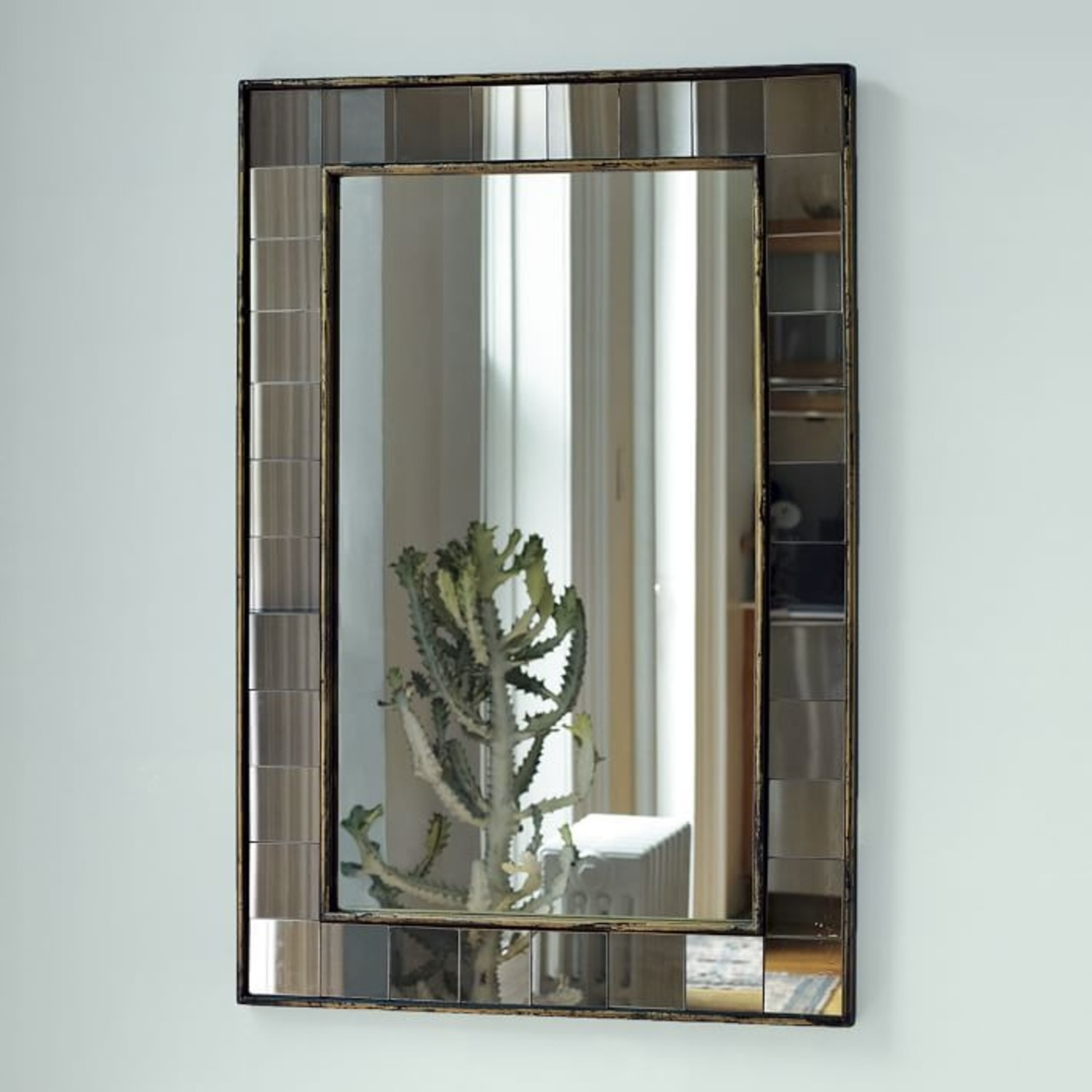 West Elm Antique Tiled Wall Mirror - image-2
