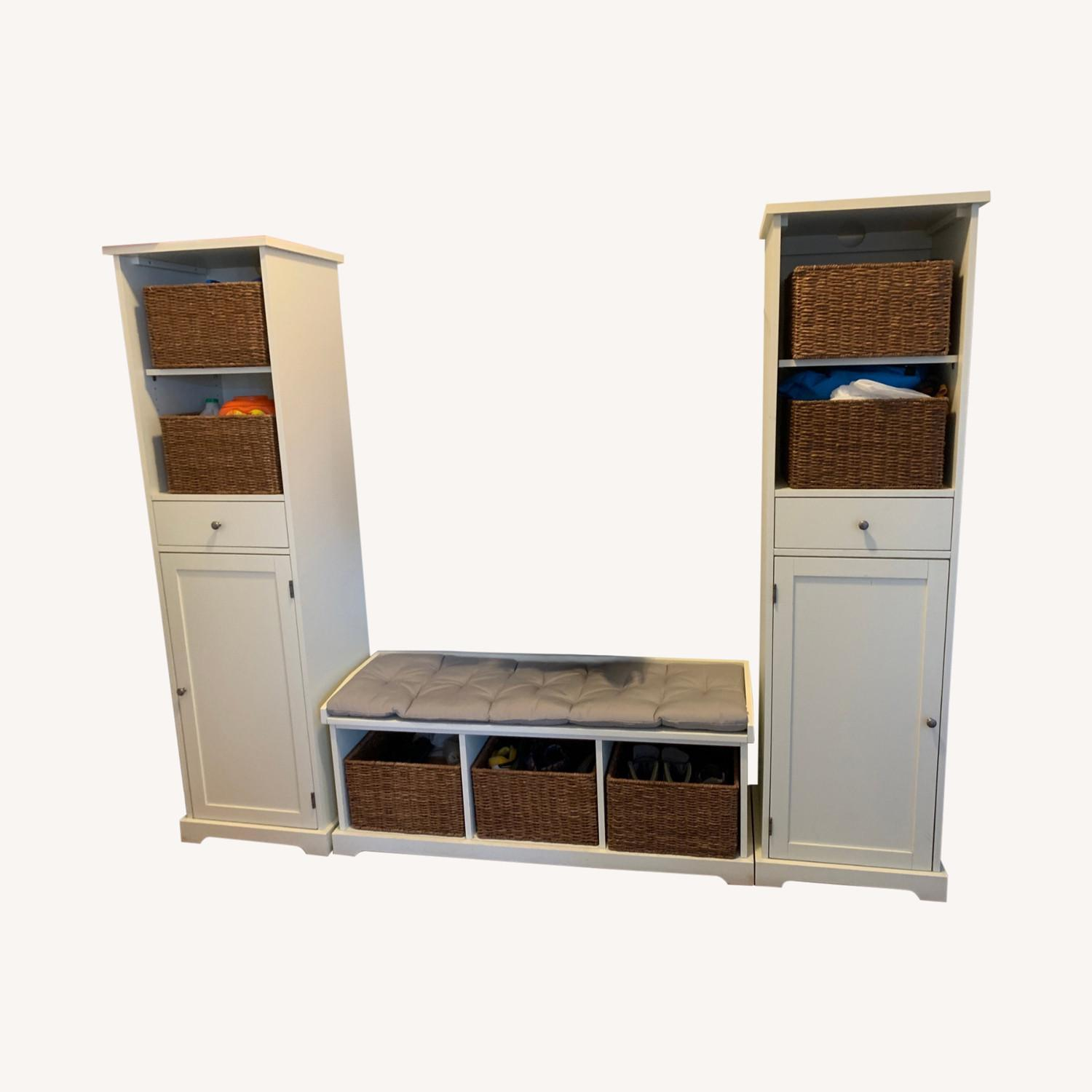 Pottery Barn 3-Piece Bench & Storage Cabinet - image-0