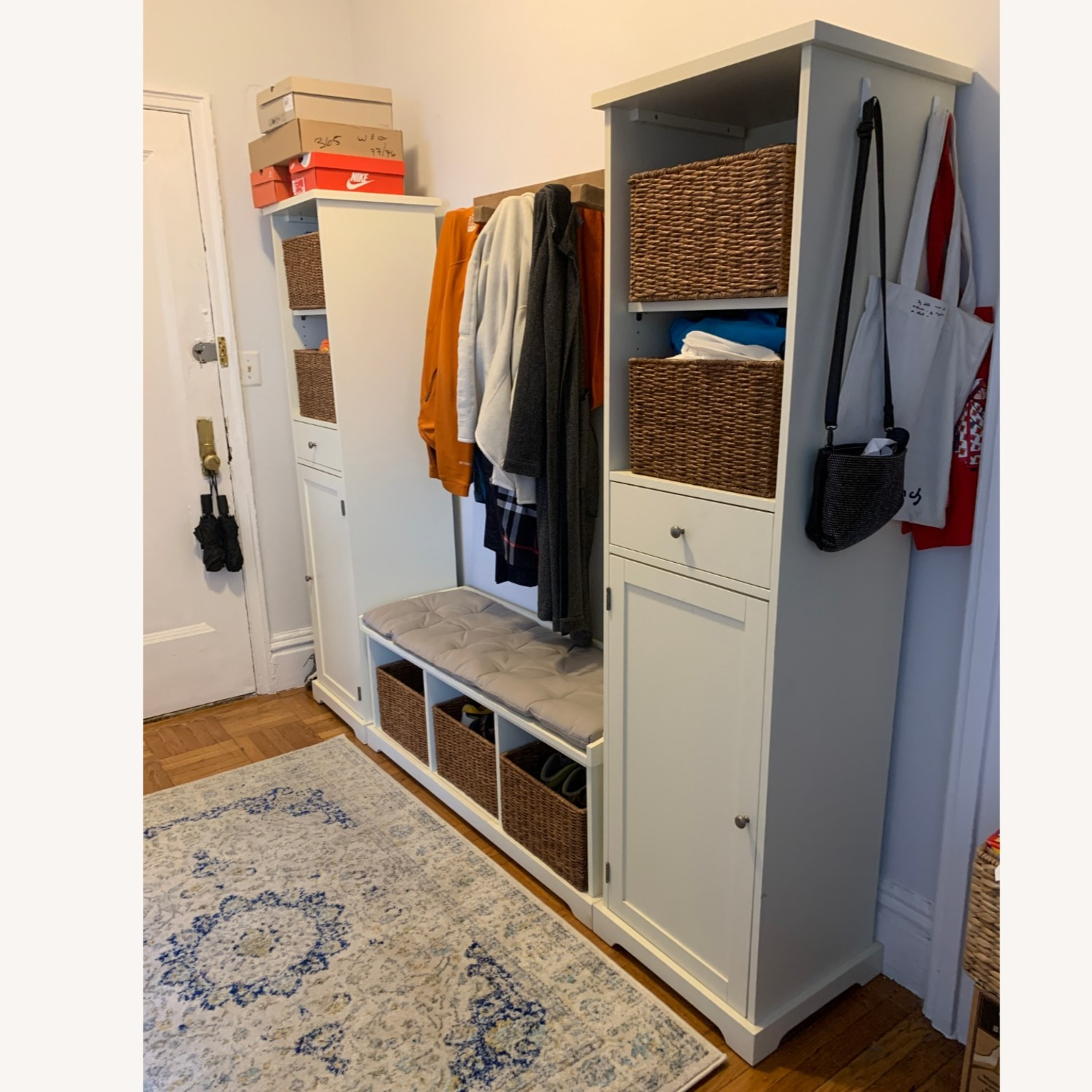 Pottery Barn 3-Piece Bench & Storage Cabinet - image-2