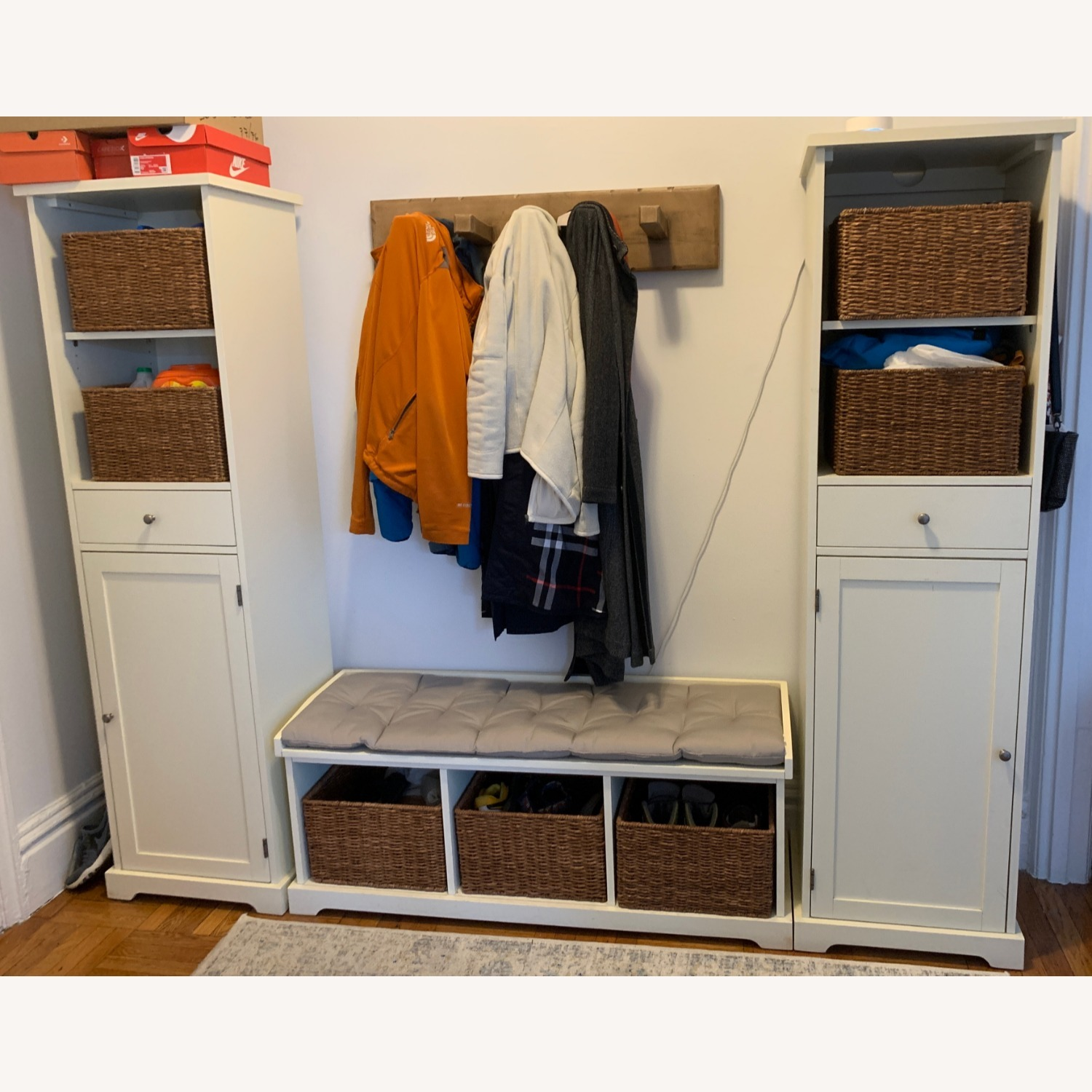 Pottery Barn 3-Piece Bench & Storage Cabinet - image-1