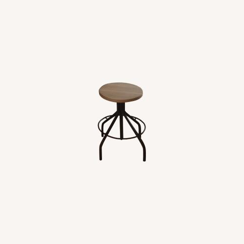Used ABC Carpet & Home Ethnicraft Oak and Wrought Iron Stools for sale on AptDeco