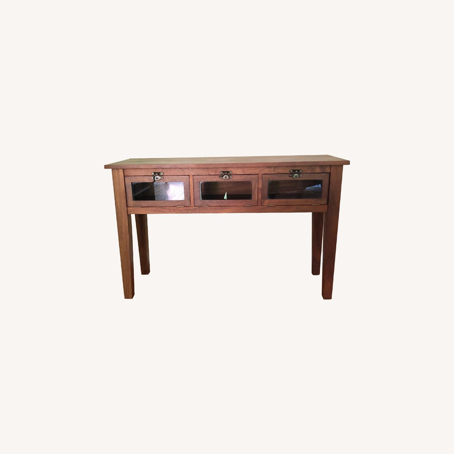 Pottery Barn Buffet / Sideboard with Glass Front Doors - image-0