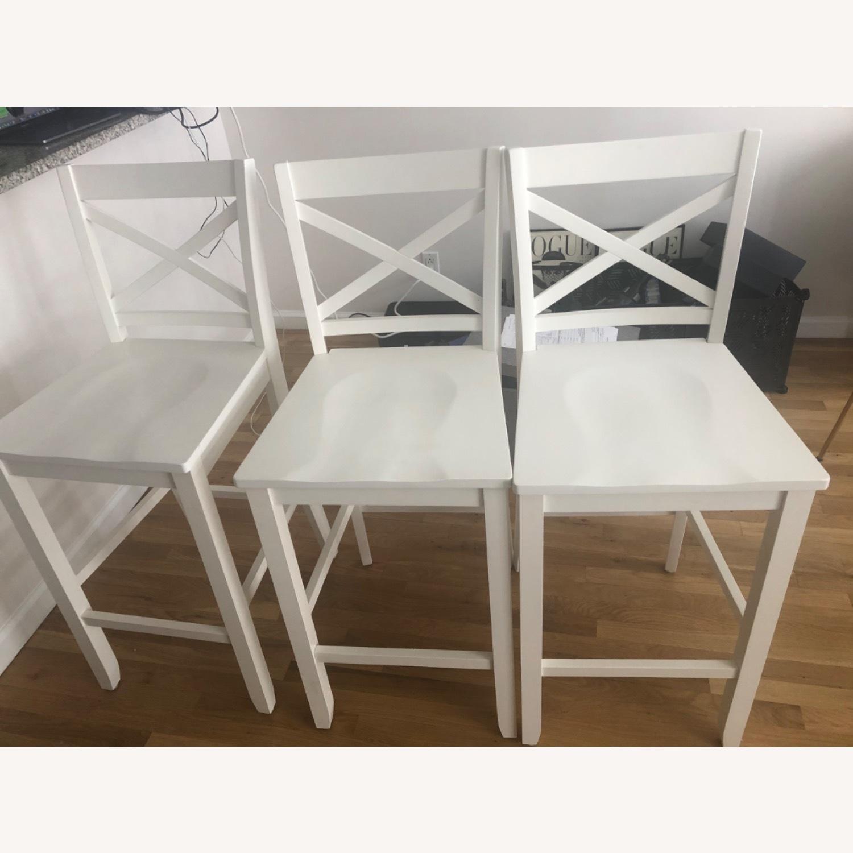 3 Tall White Bar Stools - image-1