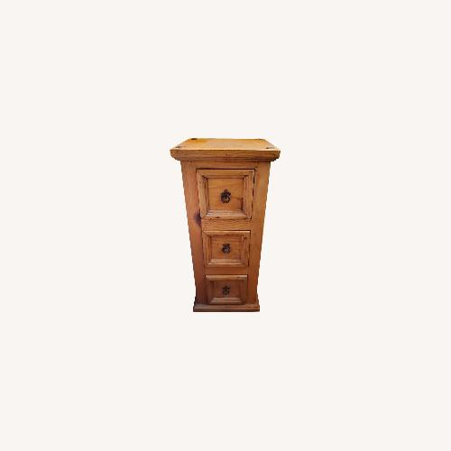 Used Knotty Pine Nightstand or Side Table/tower for sale on AptDeco