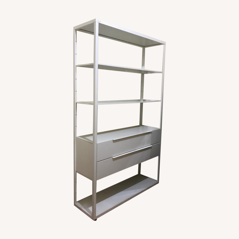 IKEA White Metal Adjustable Shelves + 2 drawers - image-0