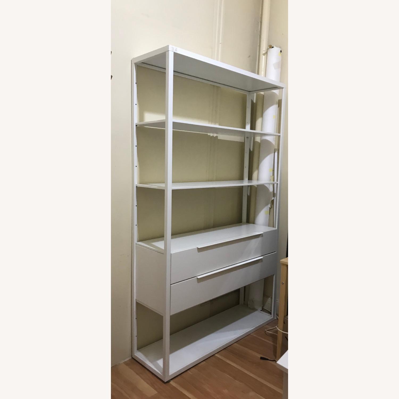 IKEA White Metal Adjustable Shelves + 2 drawers - image-1