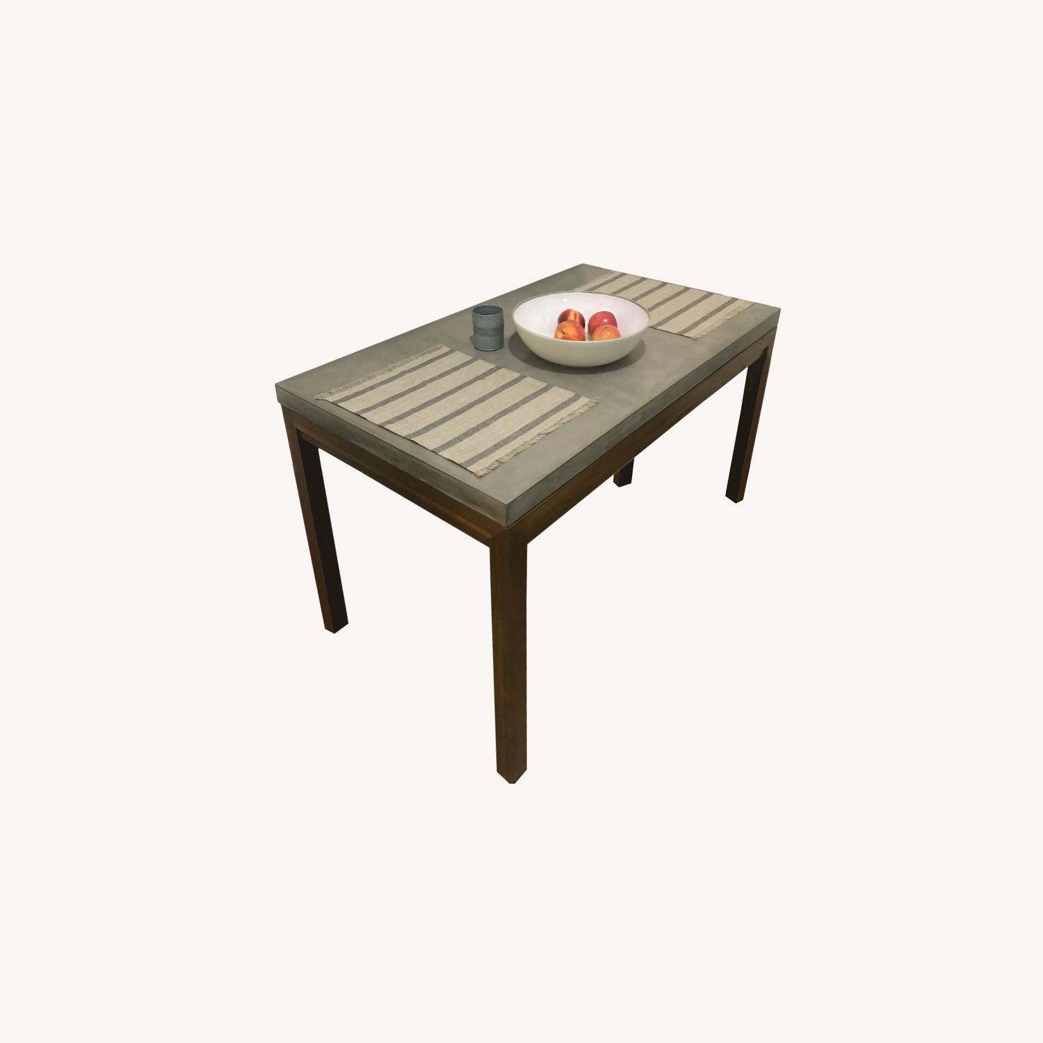 Crate & Barrel Concrete Top Dining Table - image-0