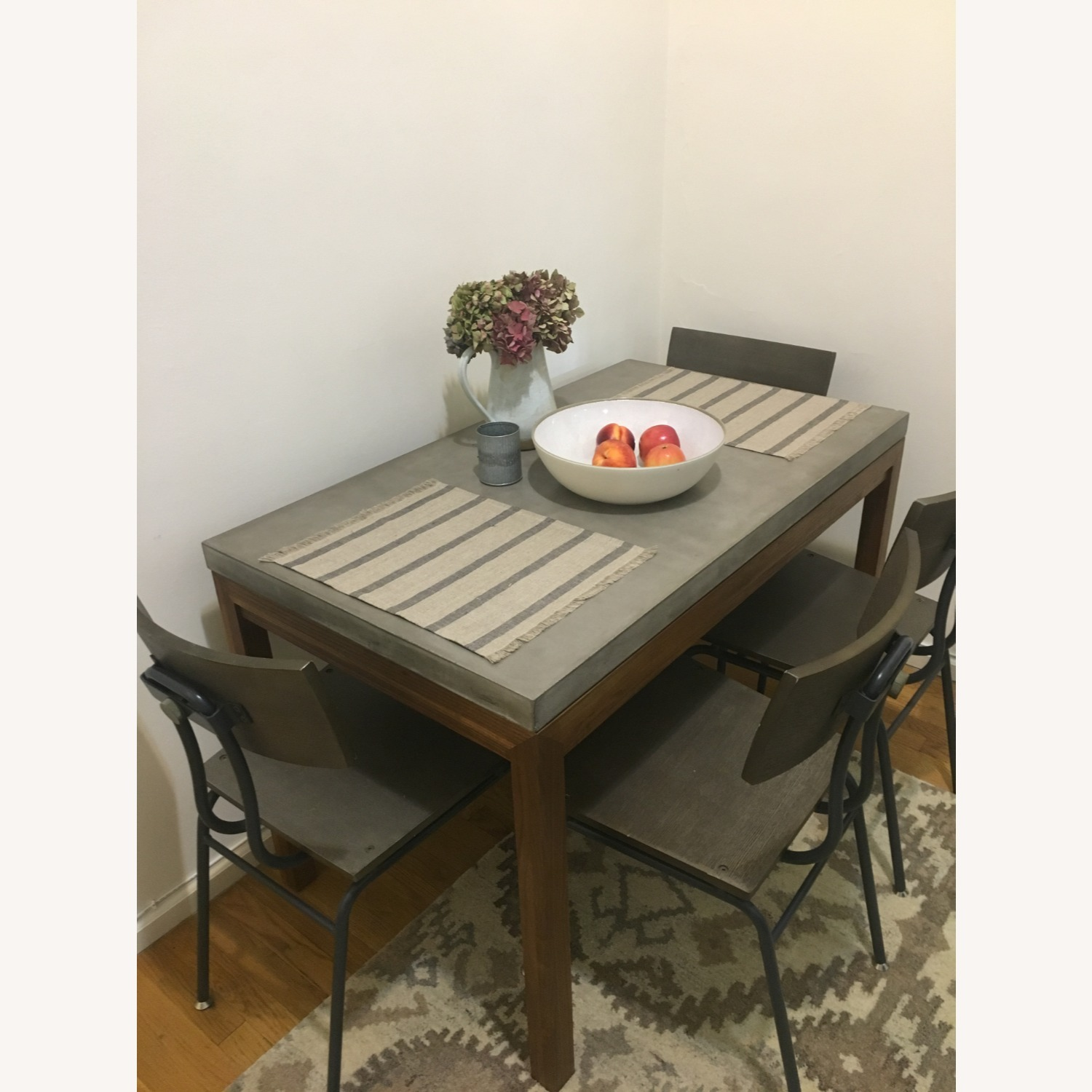 Crate & Barrel Concrete Top Dining Table - image-1